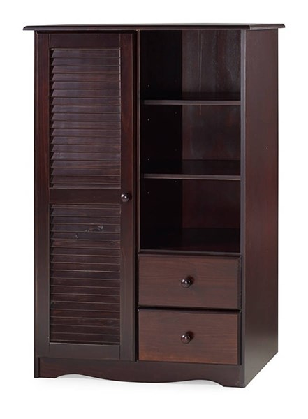 Bronx Java Solid Wood Door Chest w/5 Shelves & 2 Drawers PIF-5906