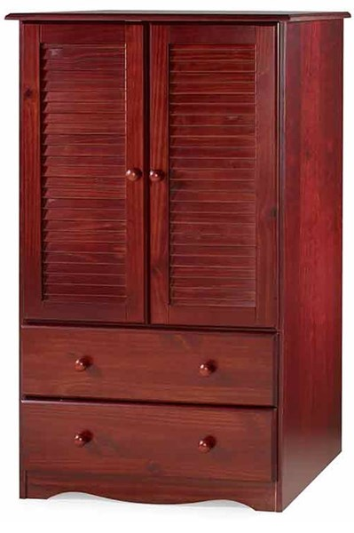 Petite Mahogany Solid Wood Armoire w/1 Shelf & 2 Drawers PIF-5912