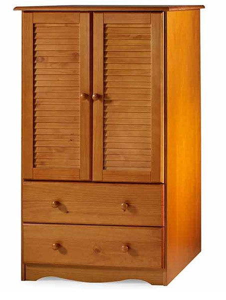 Petite Honey Pine Solid Wood Armoire w/1 Shelf & 2 Drawers PIF-5914