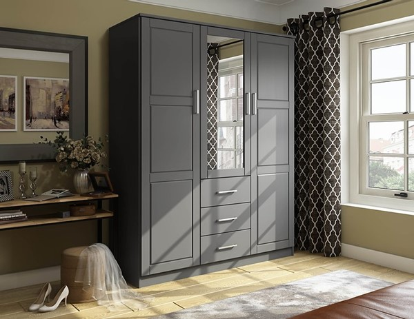 Palace Imports Cosmo Gray 3 Door Armoire PIF-7115