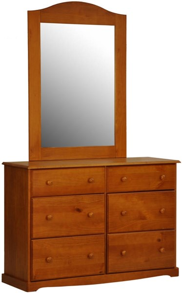 Bronx Honey Pine Solid Wood Glass Dresser & Mirror PIF-BRONX-DRMR-2