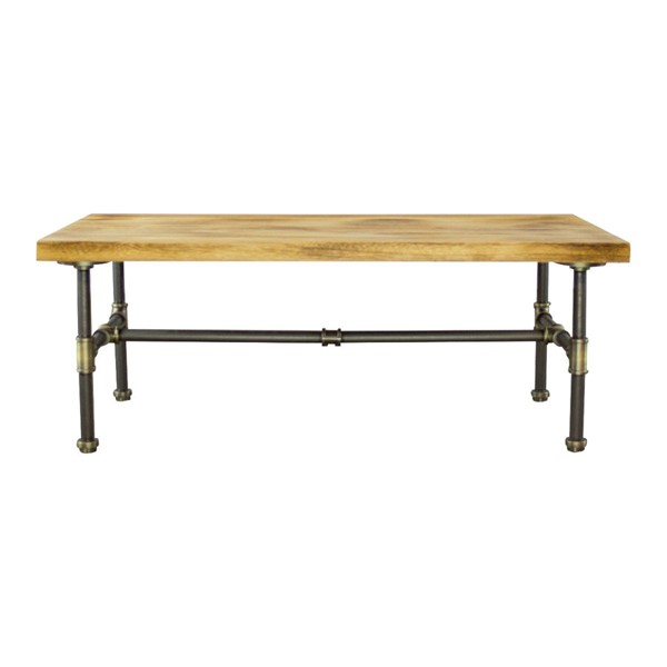 Furniture Pipeline Corvallis Brass Gray Natural Coffee Table PIPE-CT1-BR-GR-NA