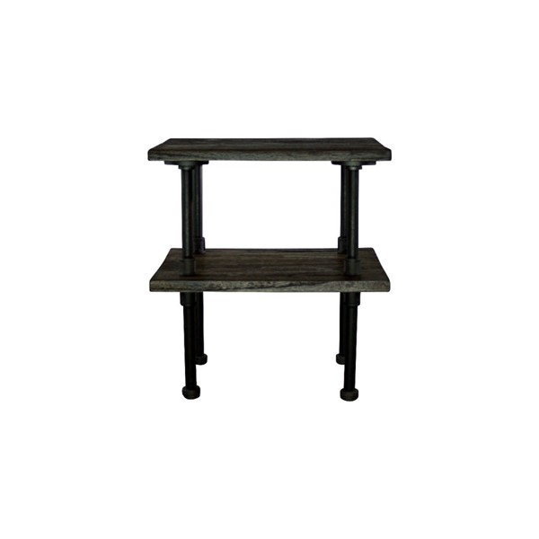 Furniture Pipeline Corvallis Black Brown Side Table PIPE-ET1-BL-BL-BL