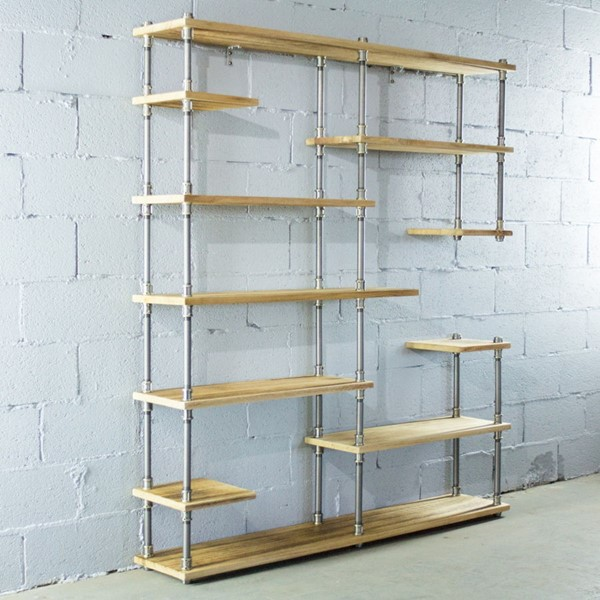 Furniture Pipeline Nashville Brass Gray Natural Mid Century Etagere Bookcase PIPE-MOO1-BR-GR-NA
