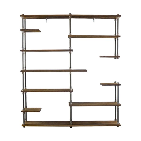 Furniture Pipeline Nashville Bronze Light Brown Mid Century Etagere Bookcase PIPE-MOO1-BZ-BZ-BR