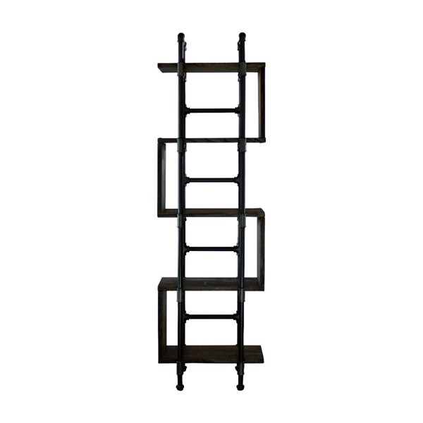 Furniture Pipeline Tucson Black Brown Etagere Bookcase Display PIPE-OW1-BL-BL-BL