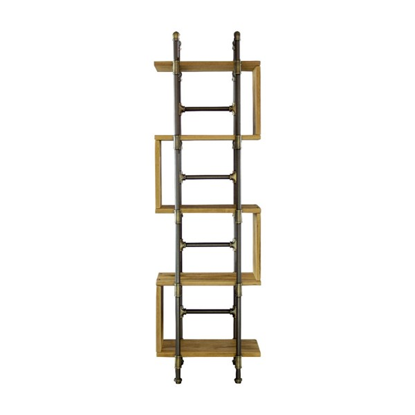 Furniture Pipeline Tucson Brass Gray Natural Etagere Bookcase Display PIPE-OW1-BR-GR-NA