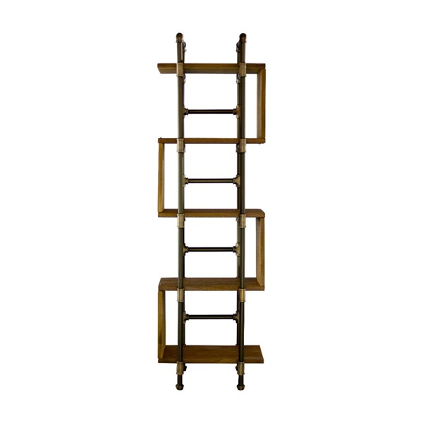 Furniture Pipeline Tucson Bronze Light Brown Etagere Bookcase Display PIPE-OW1-BZ-BZ-BR