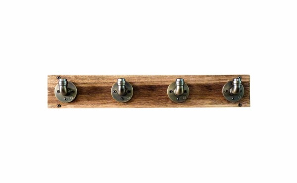 Furniture Pipeline San Antonio Brass Gray Natural Wall Mounted Coat Rack PIPE-WMCR1-BR-GR-NA