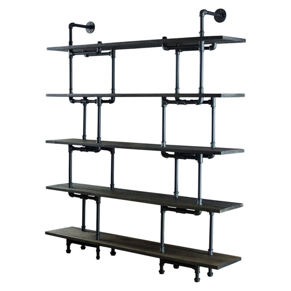 Furniture Pipeline Eugene Black Brown Bookcase PIPE-SCS1-BL-BL-BL