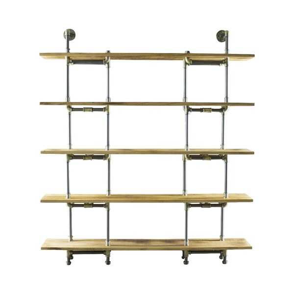 Furniture Pipeline Eugene Brass Gray Natural Bookcase PIPE-SCS1-BR-GR-NA