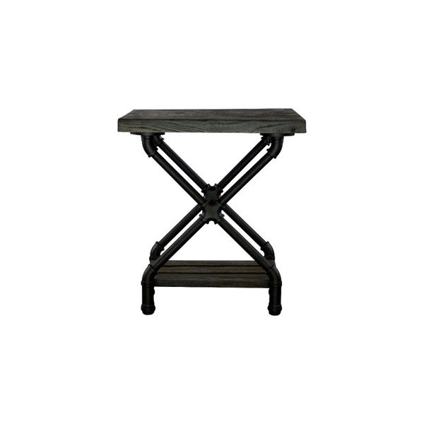 Furniture Pipeline Houston Black Brown Side Table PIPE-STX1-BL-BL-BL