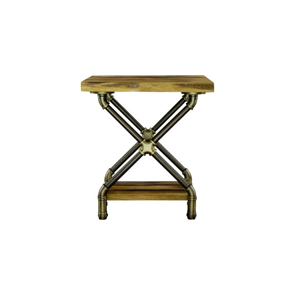 Furniture Pipeline Houston Brass Gray Natural Side Table PIPE-STX1-BR-GR-NA
