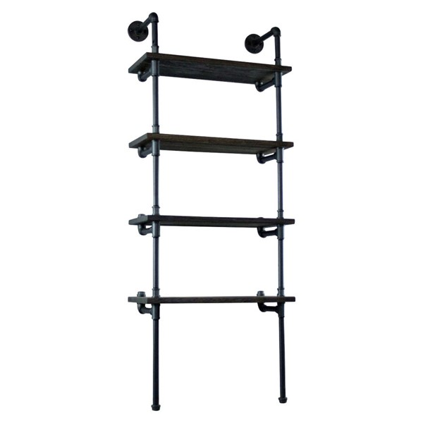 Furniture Pipeline Sacramento Black Brown Etagere Bookcase Display PIPE-TWBS1-BL-BL-BL