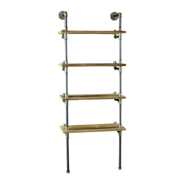 Furniture Pipeline Sacramento Brass Gray Natural Etagere Bookcase Display PIPE-TWBS1-BR-GR-NA