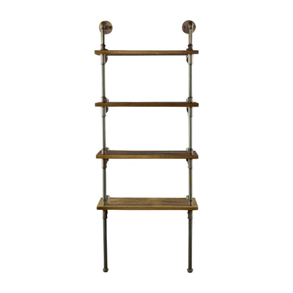 Furniture Pipeline Sacramento Bronze Light Brown Etagere Bookcase Display PIPE-TWBS1-BZ-BZ-BR