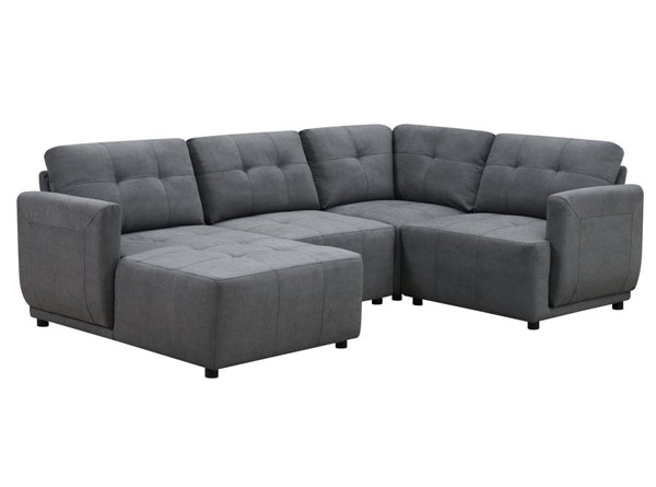 Picket House Gianni Charcoal Right Hand Facing Modular 4pc Sectional with Chaise PKT-UAI526RCSE4PC
