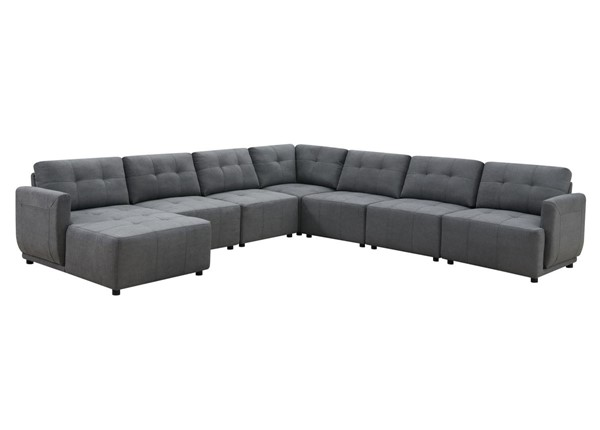 Picket House Gianni Charcoal Left Hand Facing Modular 7pc Sectional PKT-UAI526LCHR7PC