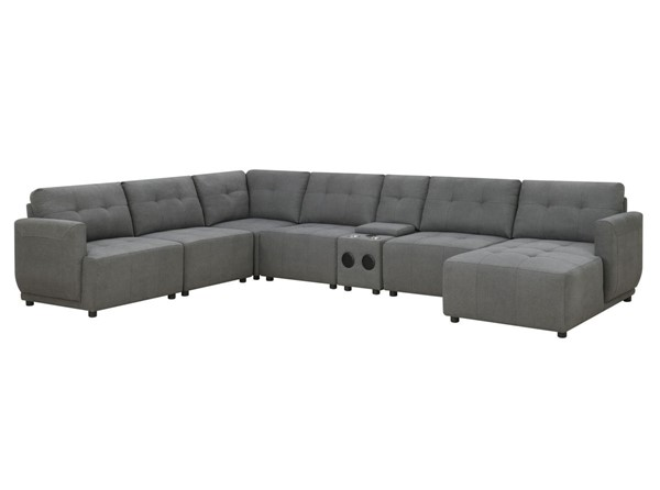 Picket House Gianni Charcoal Right Hand Facing Modular 7pc Sectional with Chaise PKT-UAI526RCSE7PC