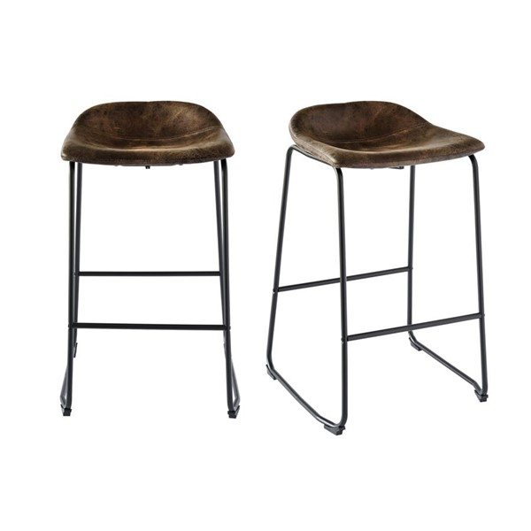 2 Picket House Galloway Brown Metal Armless Bar Stools PKT-BCZ400BSE
