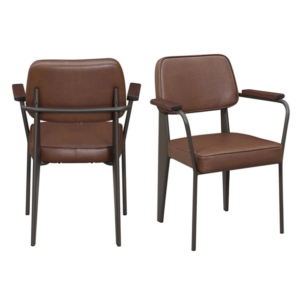 2 Picket House Ashtyn Cognac Faux Leather Fabric Chairs PKT-BGN100CHPE