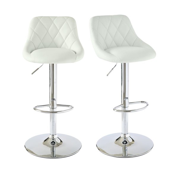 2 Picket House Baltimore White Adjustable Swivel Bar Stools PKT-BMS700BSE