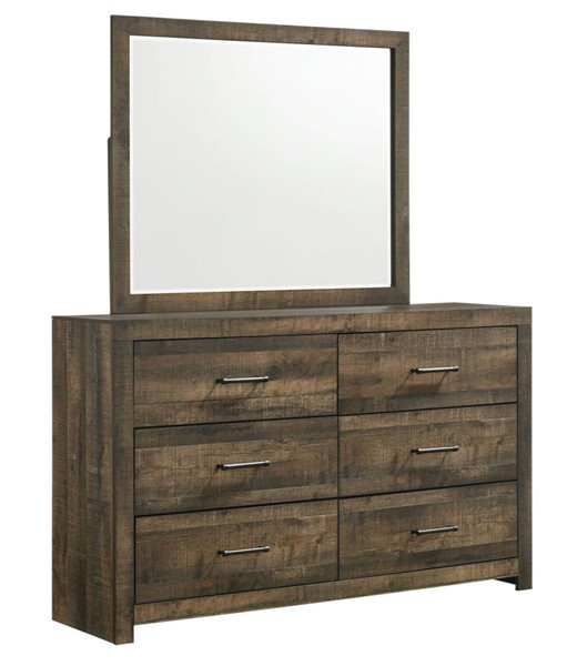 Picket House Beckett Walnut 6 Drawers Dresser and Mirror PKT-BY500DRMR
