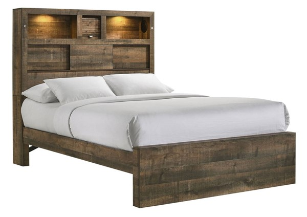 Picket House Beckett Walnut Full Bookcase Panel Bed with Bluetooth PKT-BY520FB