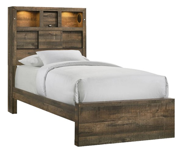 Picket House Beckett Walnut Twin Bookcase Panel Bed with Bluetooth PKT-BY520TB