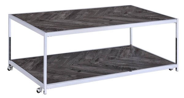 Picket House Lennon Gray Chrome Rectangle Coffee Table PKT-CAC100CTE