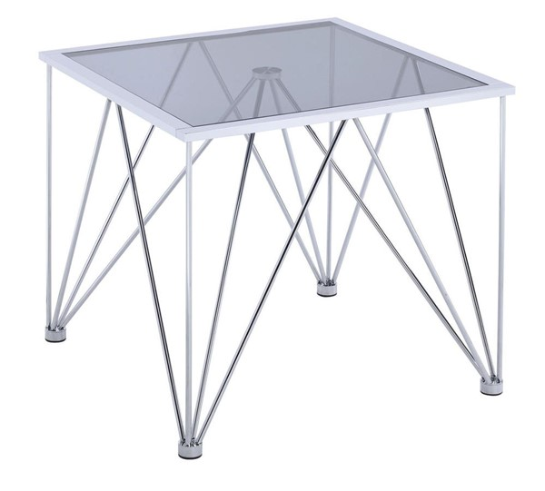 Picket House Macie Chrome Glass Top Square End Table PKT-CAN100ETE