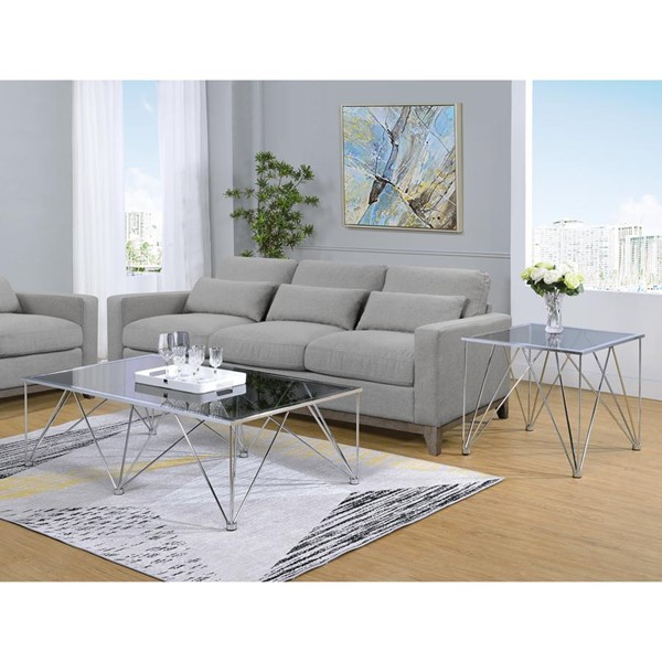 Picket House Macie Chrome Glass Top 3pc Coffee Table Set PKT-CAN100-OCT-S1