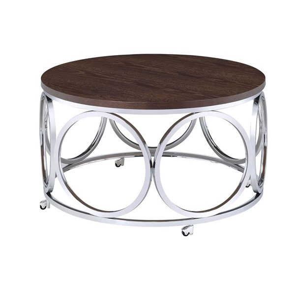 Picket House Jayme Brown Chrome Round Coffee Table PKT-CAX100CTE