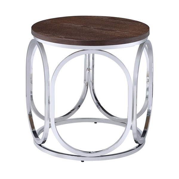 Picket House Jayme Brown Chrome Round End Table PKT-CAX100ETE