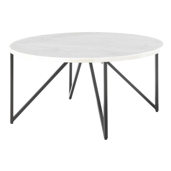 Picket House Kinsler Black Round Marble Top Coffee Table PKT-CCR100CTE