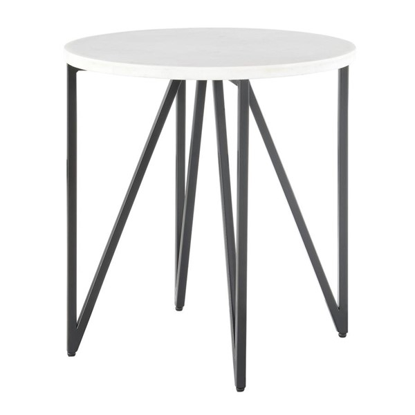 Picket House Kinsler Black Round Marble Top End Table PKT-CCR100ETE
