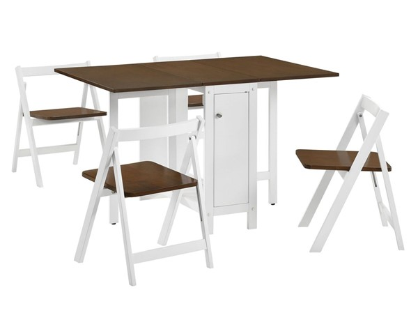 Picket House Foundry White Walnut 5pc Dining Set with Foldable Table PKT-CDDZ500DKE