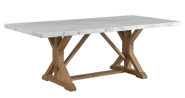 Picket House Liam White Natural Rectangular Dining Table PKT-CDLW100DTTB