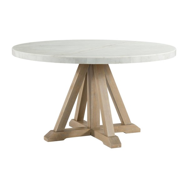 Picket House Liam White Marble Natural Rubberwood Round Dining Table PKT-CDLW180RDT