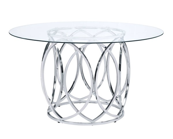 Picket House Marcy Clear Chrome Round Dining Table PKT-CDML100DTTB