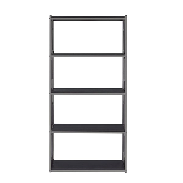 Picket House Kendall Black Chrome 5 Shelves Bookshelf PKT-CES100BSE
