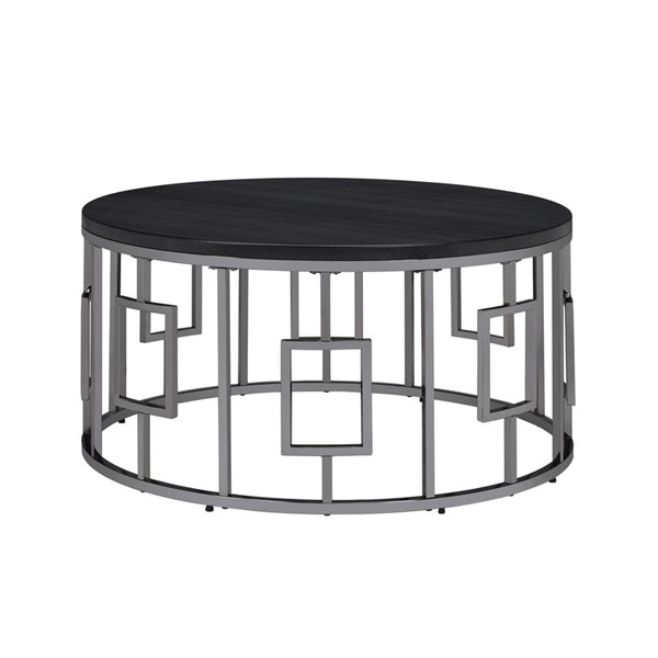 Picket House Kendall Black Chrome Round Coffee Table PKT-CES100CTE