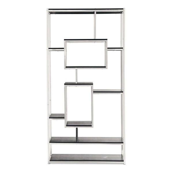 Picket House Harper Modern Chrome Black Bookshelf PKT-CEZ100BSE