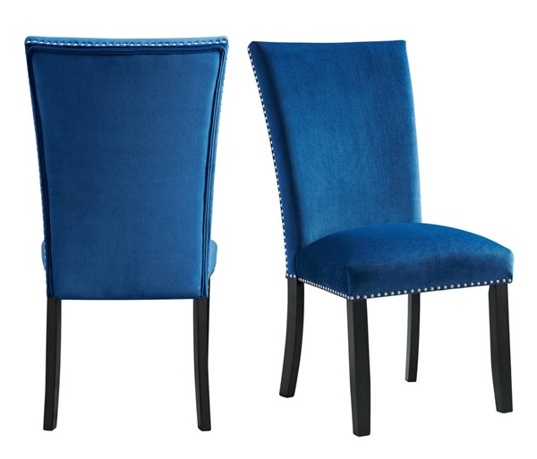 2 Picket House Celine Blue Velvet Side Chairs PKT-CFC700VSC