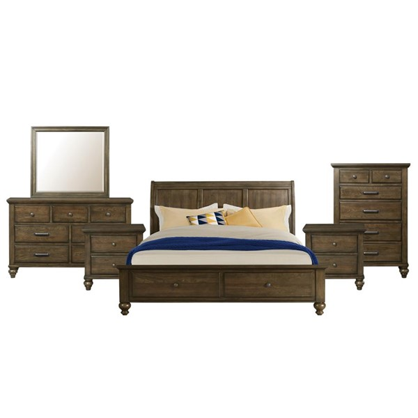 Picket House Channing Dark Walnut Wood 6pc Bedroom Set with King Drawer Bed PKT-CH600KB6PC