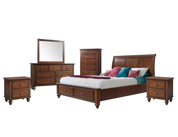 Picket House Channing Cherry 6pc Bedroom Set with Storage King Platform Bed PKT-CH777KB6PC