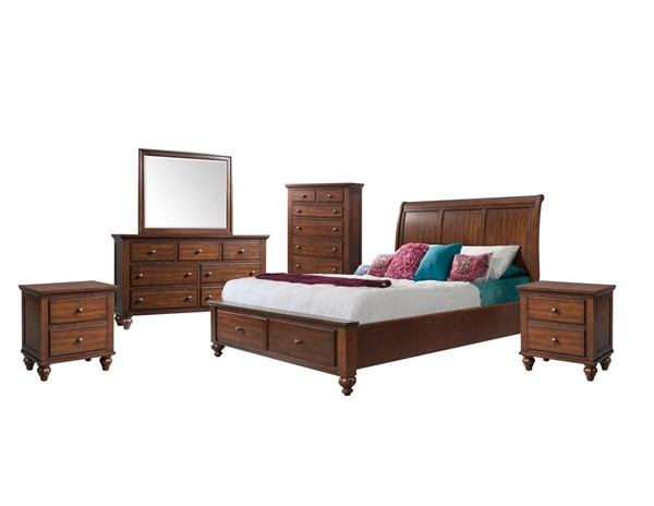 Picket House Channing Cherry 6pc Bedroom Set with Storage Queen Platform Bed PKT-CH777QB6PC