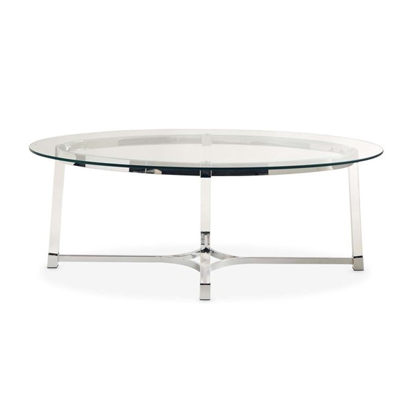Picket House Sophia Clear Glass Top Oval Coffee Table PKT-CLC100CTE