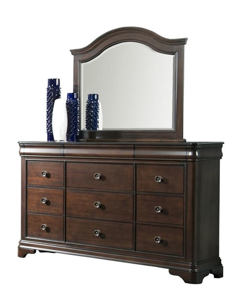 Picket House Conley Cherry Wood Dresser and Mirror PKT-CM750DRMR