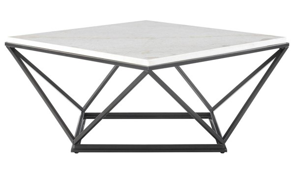Picket House Conner Black Marble Top Square Coffee Table PKT-CRK100CTE
